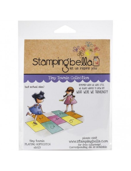 Stamping Bella Cling Stamps, Tiny Townies Playing Hopscotch