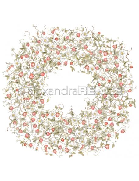 Alexandra Renke Cardstock una cara 30,5x30,5 cm, Corona Frutas del Bosque/Walderdbeeren Kranz