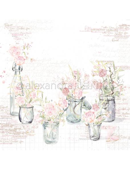 Alexandra Renke Cardstock una cara 30,5x30,5 cm, Rosas en Cristal/Rosen in Gläsern