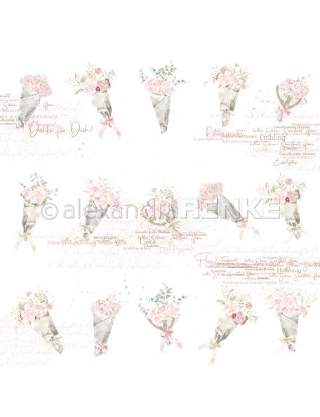 Alexandra Renke Cardstock una cara 30,5x30,5 cm, Ramo de Flores/Blumensträuße