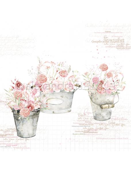 Alexandra Renke Cardstock una cara 30,5x30,5 cm, Rosas en Cubos/Rose Blumen in Eimern