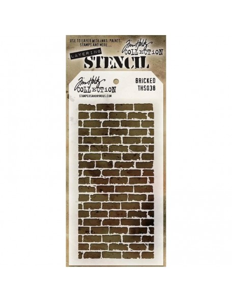 "Tim Holtz Plantilla/Layered Stencil 4.125""X8.5"", Bricked THS038"