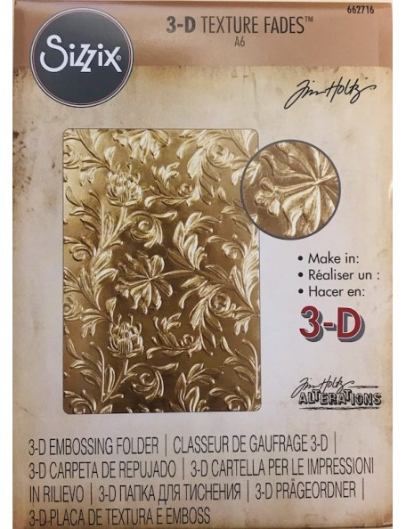 Sizzix Carpeta de rempujado3D/Texture Fades Embossing Folder By Tim Holtz, Botanical