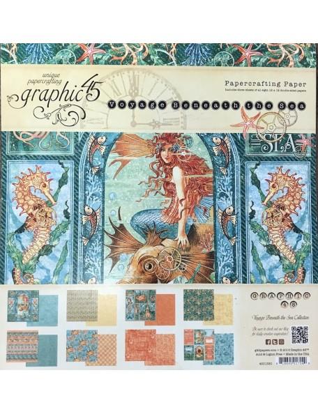 """Graphic 45 Paper Pad de doble cara12""""X12"""" 24, Voyage Beneath The Sea, 8 Diseños/3"""