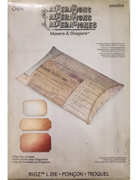 """Sizzix Movers & Shapers Large Base Troquel de Tim Holtz 6""""X8.75"""" Pillow Box W/Labels"""