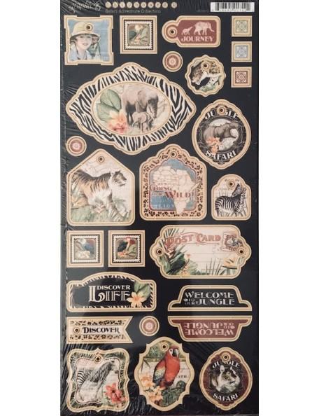 "Safari Adventure Chipboard Die-Cuts 6""X12"" Sheet Decorative"
