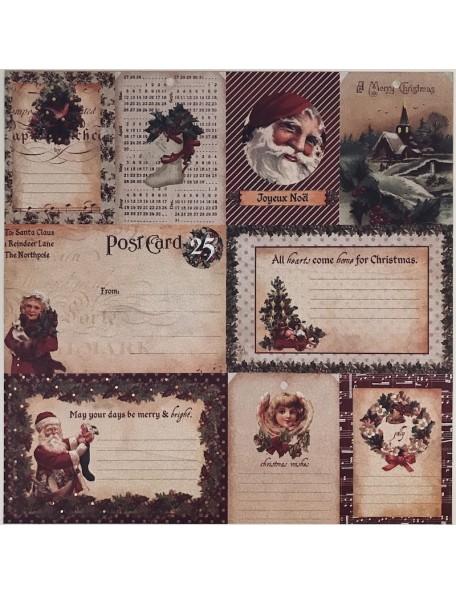 "Prima Marketing A Victorian Christmas Foiled Cardstock 12""X12"", Le Jour De Noel"