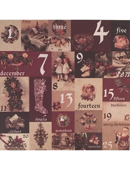 "Prima Marketing A Victorian Christmas Foiled Cardstock 12""X12"", Un calendrier de L'Avent"