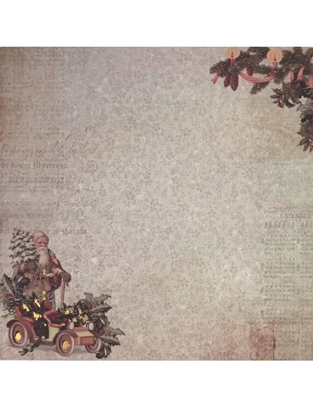 "Prima Marketing A Victorian Christmas Foiled Cardstock de doble cara 12""X12"", Pere Noel"