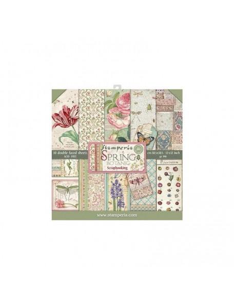 "Stamperia Paper Pad 12""X12"", Spring Botanic 10 Diseños/1 de cada"