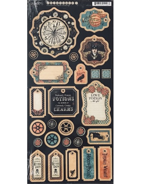 "Graphic 45 Steampunk Spells Decoraciones de Carton/Chipboard Die-Cuts 6""X12"", Sheet Tags 1"