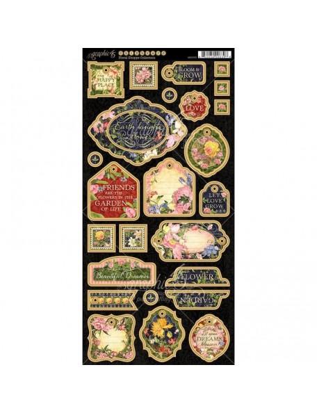 "Graphic 45 Floral Shoppe Decoraciones de Carton/Chipboard Die-Cuts 6""X12"", Decorative & Journaling"
