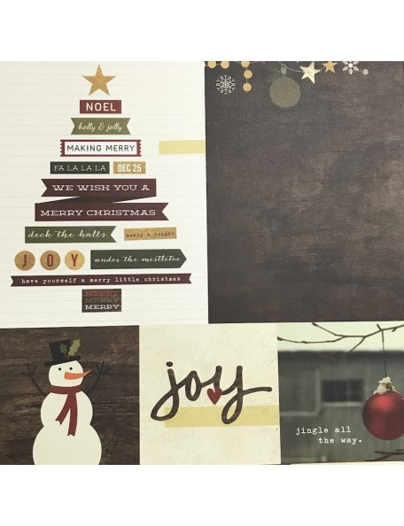 "Simple Stories Cozy Christmas Elements Cardstock de doble cara 12""X12"", 4""X4"" & 6""X8"" Journaling Cards"