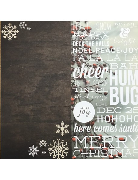 "Simple Stories Cozy Christmas Elements Cardstock de doble cara 12""X12"", 6""X12"" Page Elements"