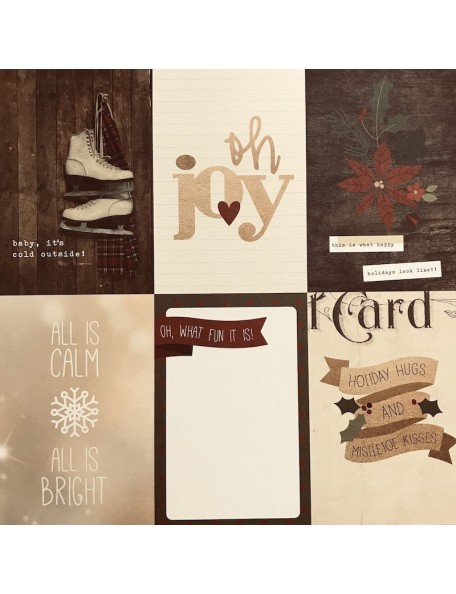 "Simple Stories Cozy Christmas Elements Cardstock de doble cara 12""X12"", 4x6"" Vertical Journaling Card Elements"