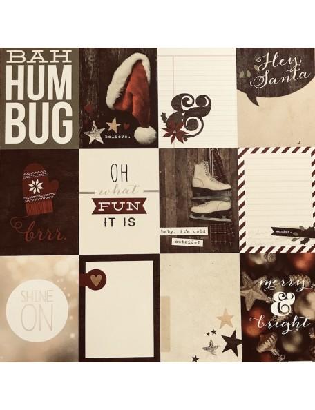 "Simple Stories Cozy Christmas Elements Cardstock de doble cara 12""X12"", 4x6"" Vertical Journaling Card Elements"