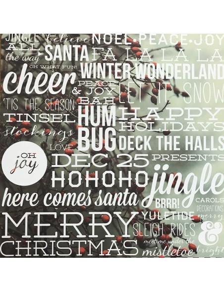 """Simple Stories Cozy Christmas Elements Cardstock de doble cara 12""""X12"""", Let it Snow"""