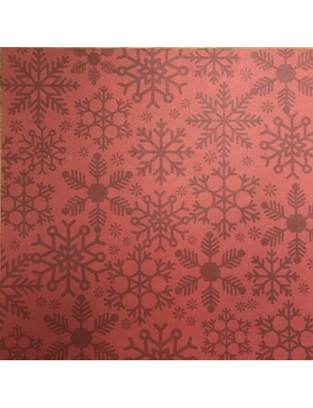 "Simple Stories Cozy Christmas Elements Cardstock de doble cara 12""X12"", Red Flurries/Strip"