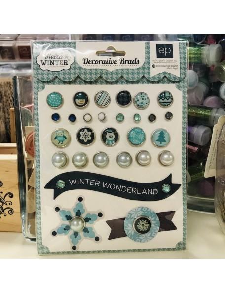 Carta Bella Hello Winter Decorative Brads