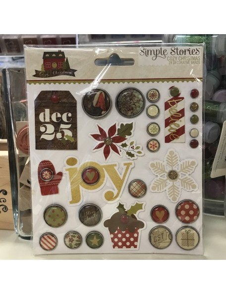 Simple Stories Cozy Christmas, 28 pzas Decorative Brads
