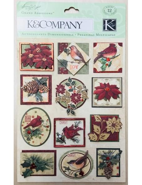 K&Company Glad Tidings Grand Pegatinas Florales y Navideñas