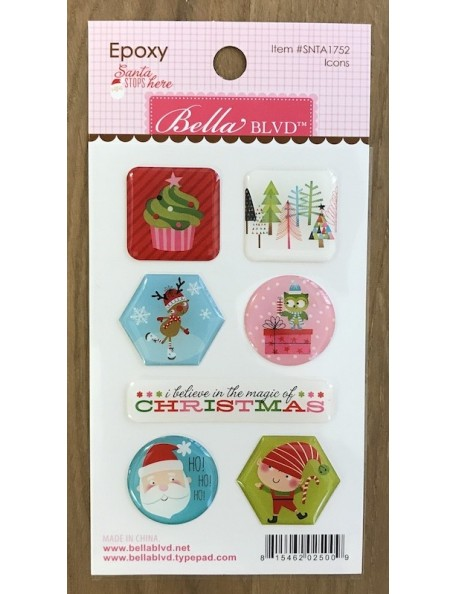 Bella BLVD Santa Stops Here Epoxy Pegatinas/Stickers, Iconos Navideños