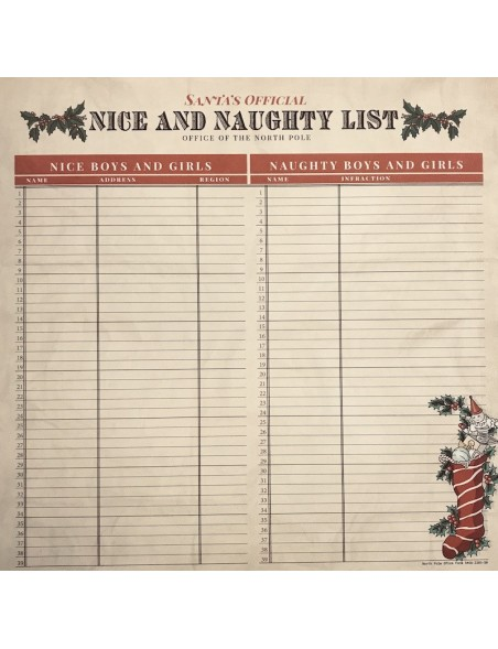 "Carta Bella Christmas Wonderland Cardstock de doble cara 12x12"", Naughty and Nice"