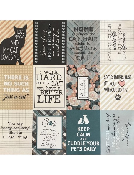 "Authentique Devoted Cardstock de doble cara 12""X12"", Feline Cut-Apart/Broken Herringbone"