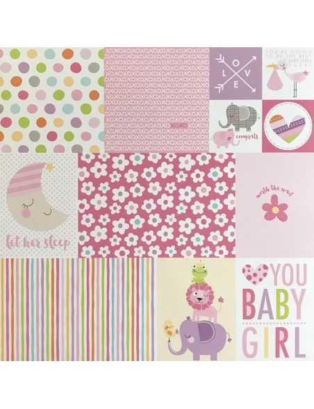 "Bella BLVD Sweet Baby Girl Cardstock de doble cara 12""X12"", Daily Details"