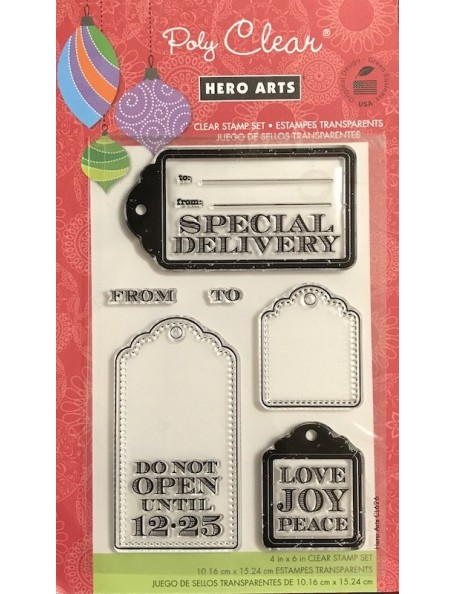 "Hero Arts Sello/Clear Stamps 4""X6"", Etiquetas Navideñas"