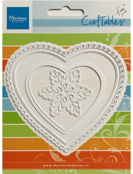 "Marianne Design Craftables Dies 3 Corazones y Copo de Nieve/Hearts & Snowflake, Up To 4.25""X3.75"""