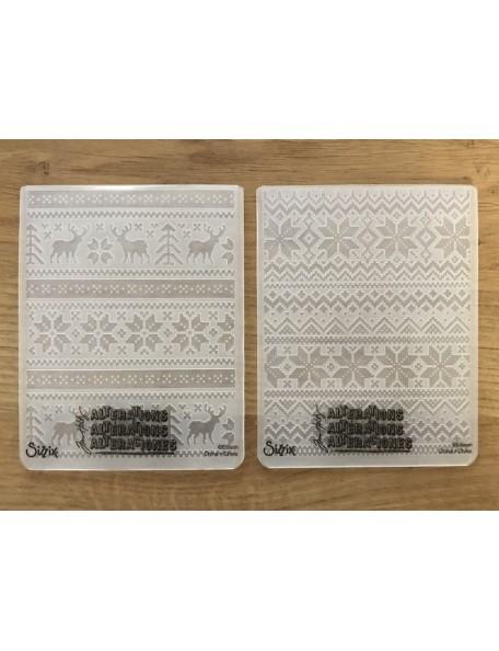 Sizzix Carpetas de Rempujado 2, Coleccion de Tejido/Holiday Knits de Tim Holtz