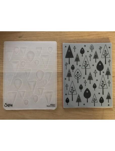 Sizzix Textured Impressions A2 , Sello y Rempujado en Relieve, Conjunto de Pajaros y Arboles By Hero Arts