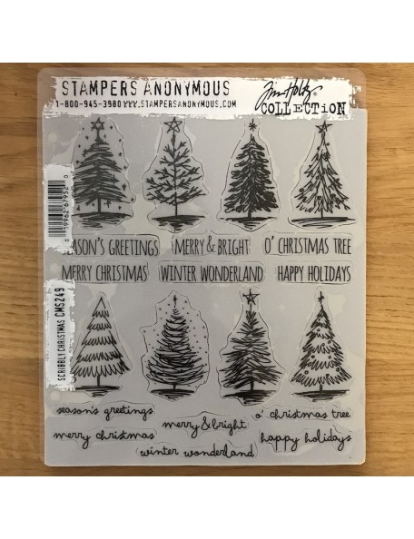 """Stampers Anonymous Tim Holtz Sello de Caucho 7""""X8.5"""", Scribbly Christmas"""