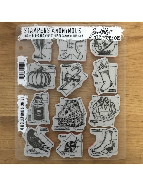 "Stampers Anonymous Tim Holtz Sello de Caucho 7""X8.5"", Mini Blueprints No.5"