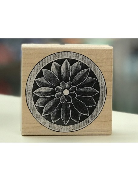 Hero Arts Sello de Madera, Round Flower Etching 5x4,7cm aprox.