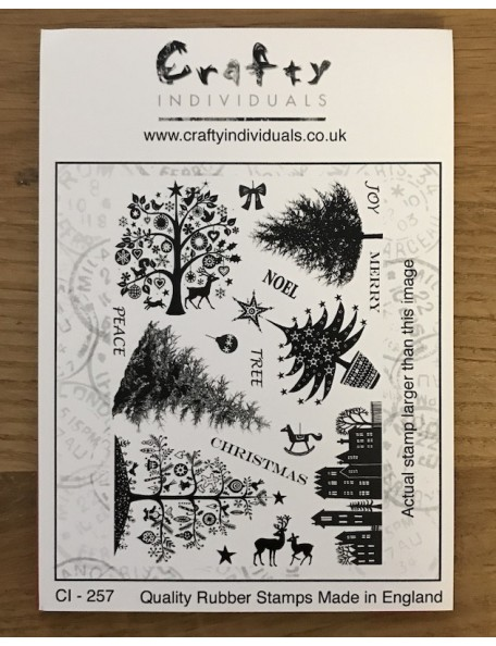 "Crafty Individuals Unmounted Rubber Stamp 4.75""X7"", Mini Christmas Trees"