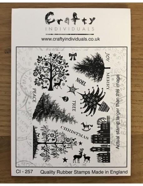 "Crafty Sello Individual de Caucho 4.75""X7"", Mini Christmas Trees"