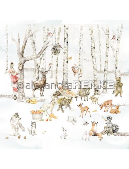 Alexandra Renke Cardstock una cara 30,5x30,5 cm, Weihnachtskinder Futterkrippe