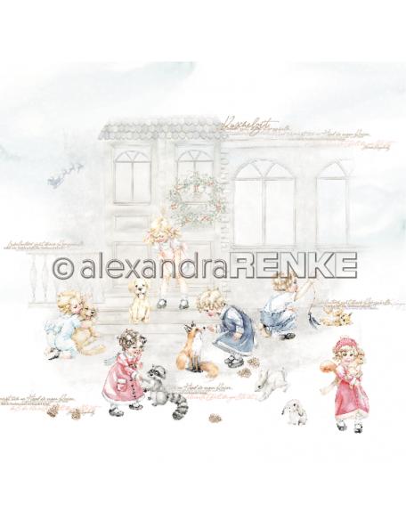 Alexandra Renke Cardstock una cara 30,5x30,5 cm, Weihnachtskinder mit Tieren