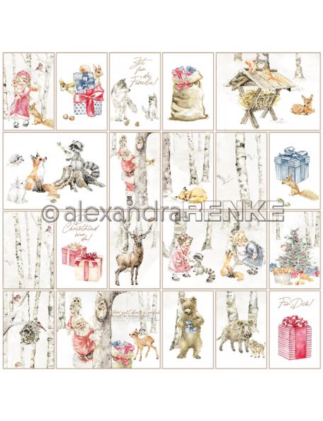 Alexandra Renke Cardstock una cara 30,5x30,5 cm, Kärtchenbogen Weihnachtskinder mit Tieren