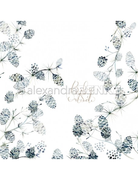 Alexandra Renke Cardstock una cara 30,5x30,5 cm, X-Mas floral Zapfen international