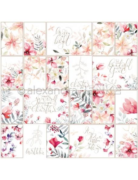 Alexandra Renke Cardstock una cara 30,5x30,5 cm, internationaler Kärtchenbogen X-Mas floral rötlich