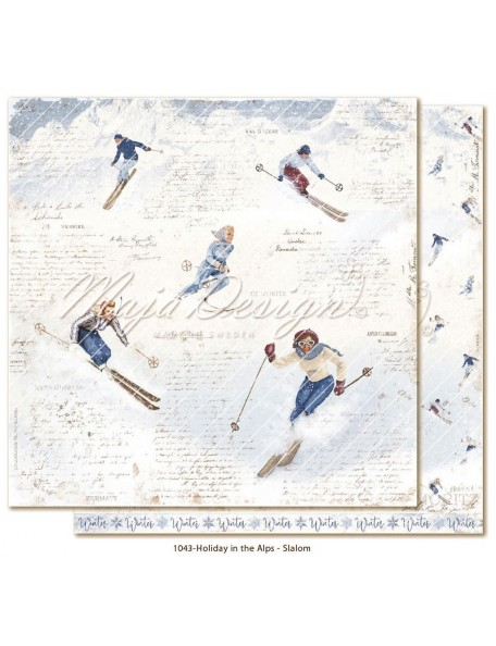 "Maja Design Holiday in the Alps Cardstock de doble cara 12""x12"", Slalom"