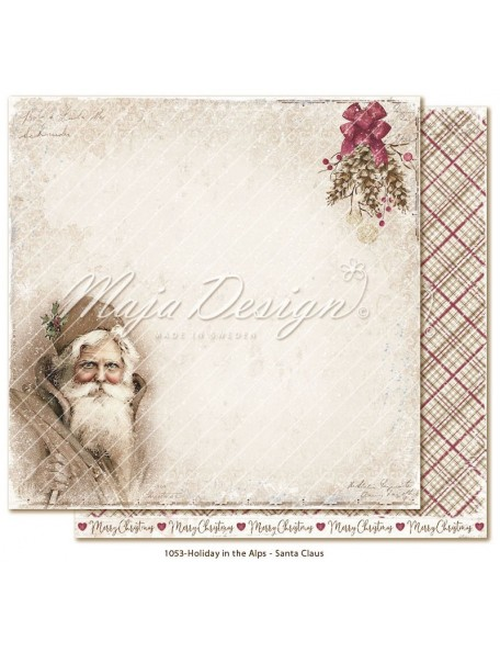 "Maja Design Holiday in the Alps Cardstock de doble cara 12""x12"", Santa Claus"