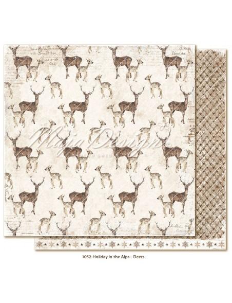 """Maja Design Holiday in the Alps Cardstock de doble cara 12""""x12"""", Deers"""