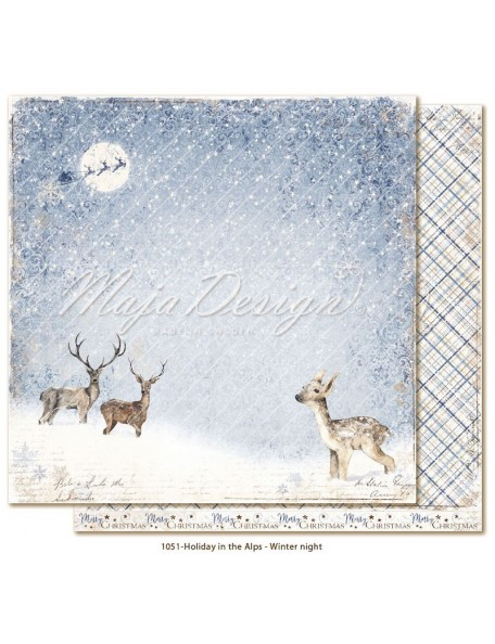 "Maja Design Holiday in the Alps Cardstock de doble cara 12""x12"", Winter night"