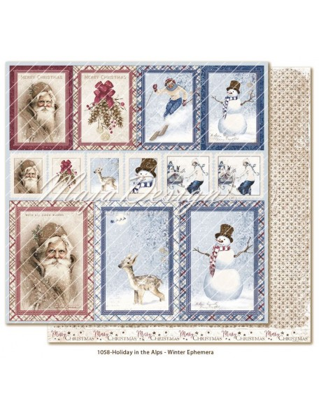 "Maja Design Holiday in the Alps Cardstock de doble cara 12""x12"", Winter Ephemera"