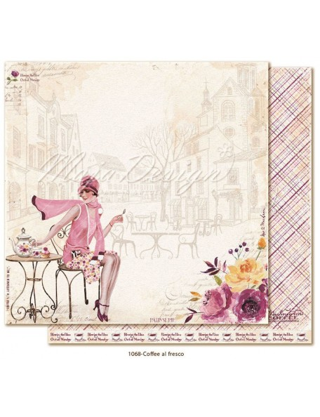 "Maja Design Little street café Cardstock de doble cara 12""x12"", Coffee al fresco"