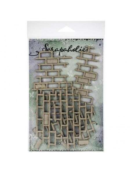 """Scrapaholics Embellecedores Chipboard, Dibujo de Ladrillo/Brick Pieces, 1.5""""-4.25"""""""